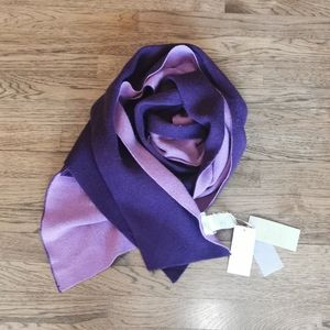Hekla & Co. Purple Italian Wool Cashmere Scarf NWT